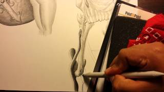 How to draw an hourglass with skull. PART 7.