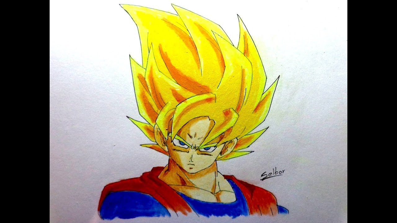 Cmo dibujar a Goku SSJ Dragon Ball Z  Selbor  YouTube