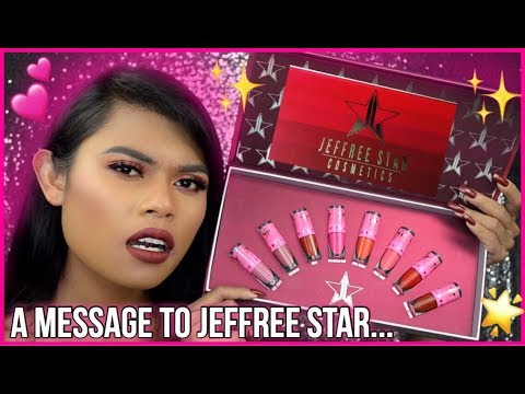 JEFFREE STAR VELOUR LIQUID SWATCHES LIPSTICK ON DARK LIPS! I HAVE SOMETHING TO TELL YOU...+ GIVEAWAY thumbnail