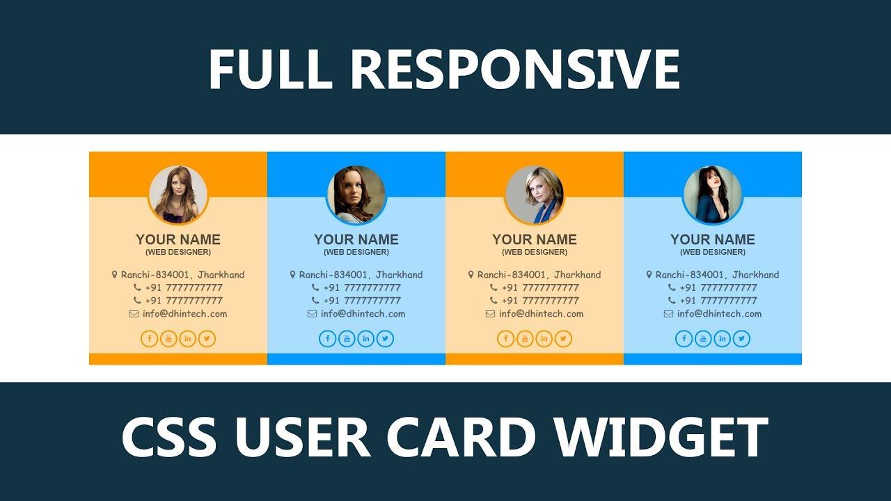 Pure CSS Full Responsive User Profile - User Card Widget UI Design - HTML  CSS UI UX Tutorial