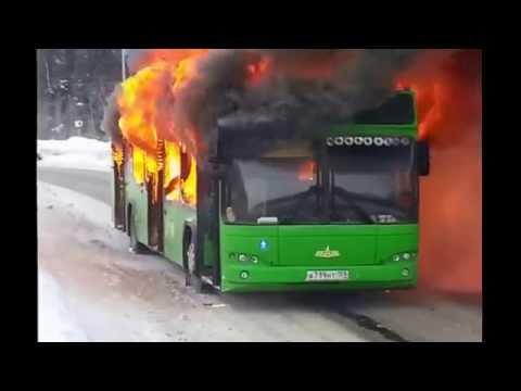 Пожар автобуса Пермь 20.01.15