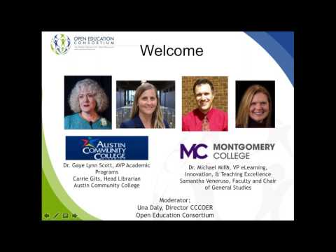 CCCOER Webinar: OER Degrees Emerging in Maryland and Texas