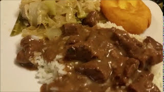 How To Cook Beef Tips and Gravy with Rice