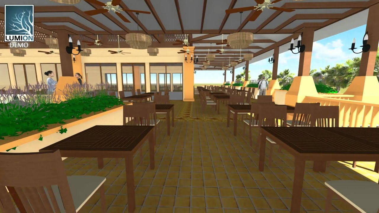 LUMION SKETCHUP GARDEN RESTAURANT YouTube