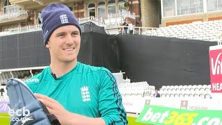 Jason Roy with his kit, bats & padding up routine
