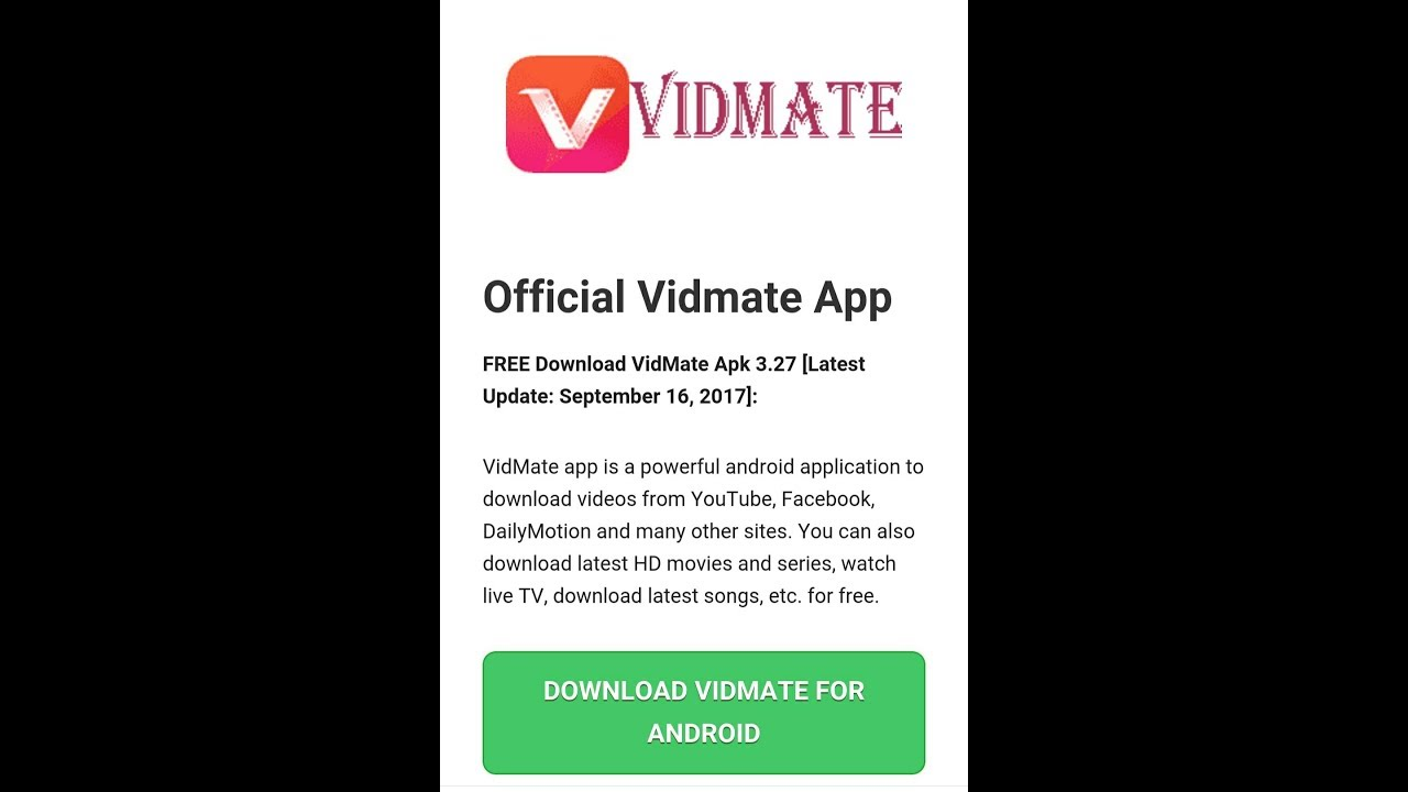 How to download old vidmate app