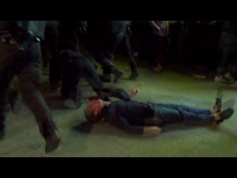 German riot police smash innocent bystander unconscious during Hamburg clashes