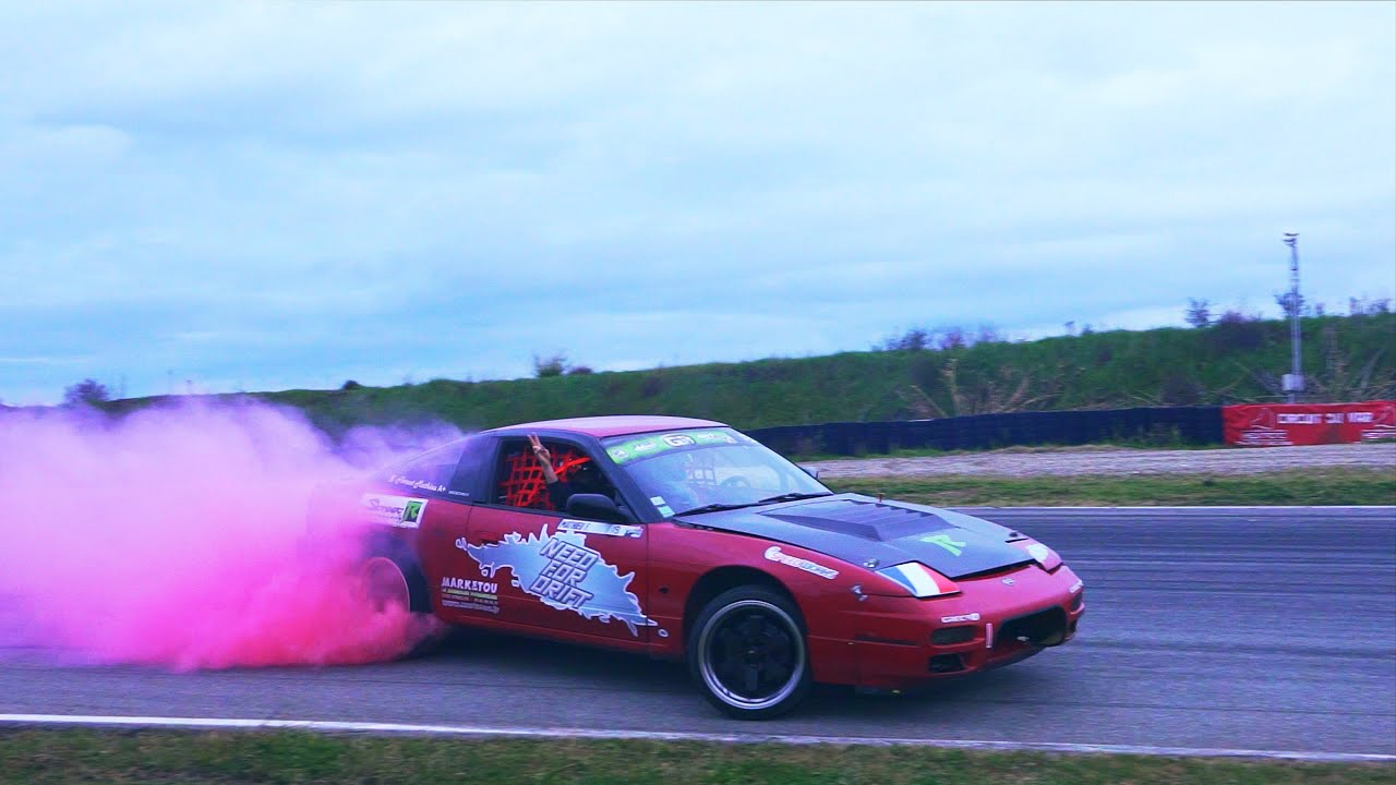 Florent Mathieu DRIFT S13 V8 4 4L Red Colored Smoke Tires