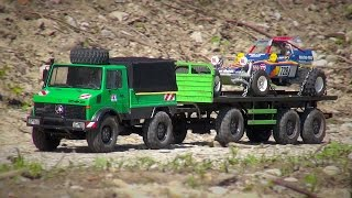 Repeat youtube video Tamiya CC-01 UNIMOG 425 and FIGHTING BUGGY on the Way for Fun!