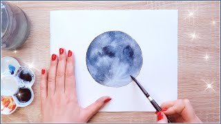 Paint With Me the Moon with Watercolors | How to deal with Perfectionism as an Artist