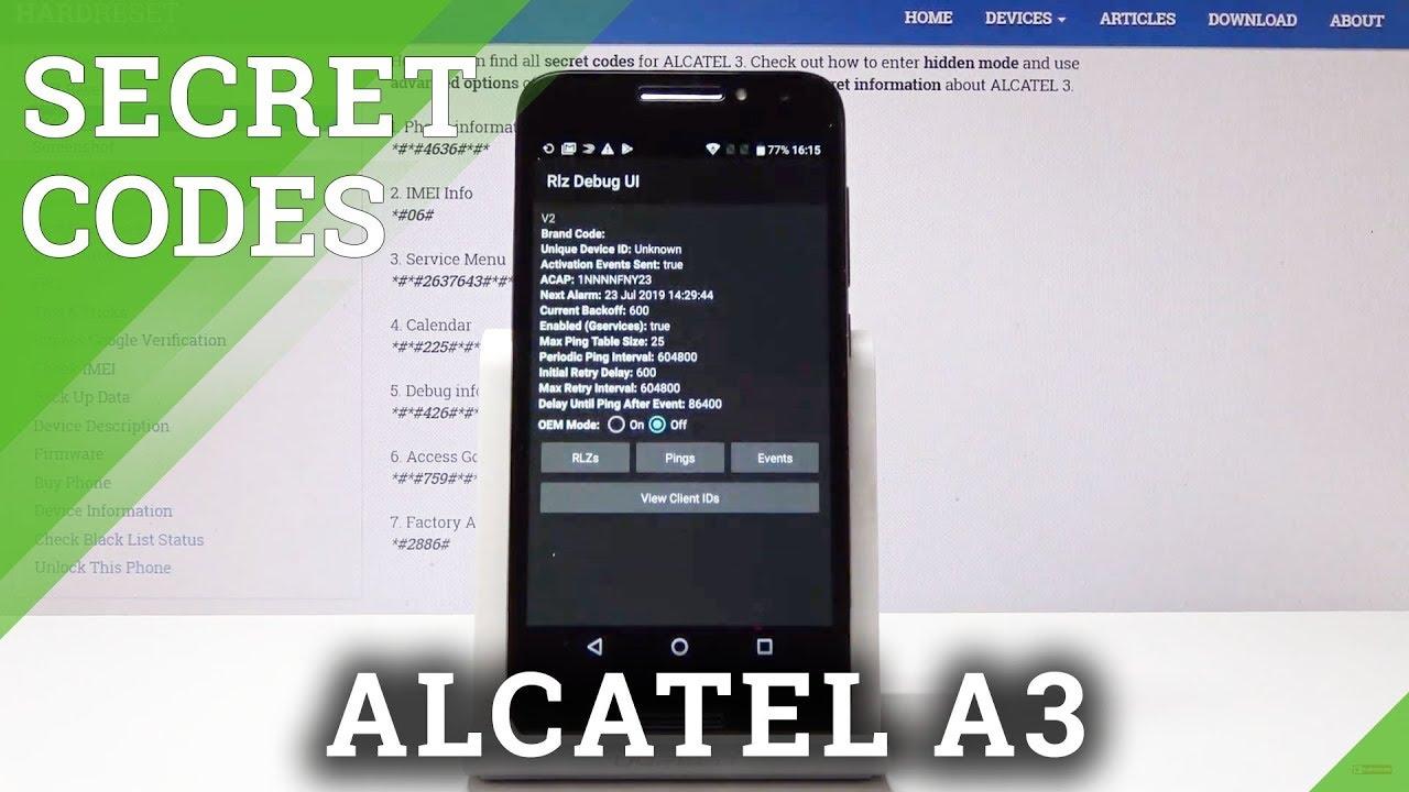 Secret Codes Alcatel A3 - Service Menu / Hidden Mode