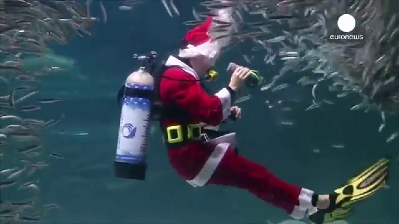 Santa Claus In South Korea, Dancing With The Fish!