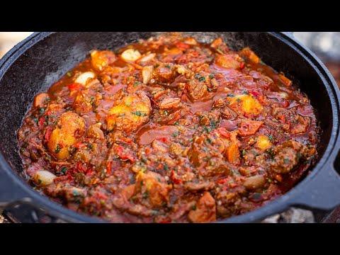 Картошка с мясом в казане на костре - хорциани  Шикарное грузинское блюдо!