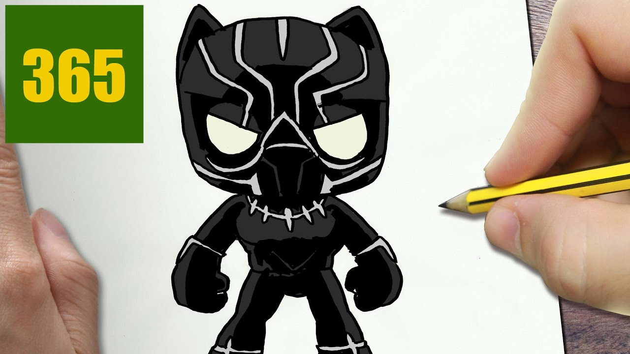 Comment dessiner black panther kawaii tape par tape - Facile dessin ...
