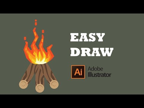 How to Draw Bonfire with firewood, Adobe Illustrator Tutorial thumbnail