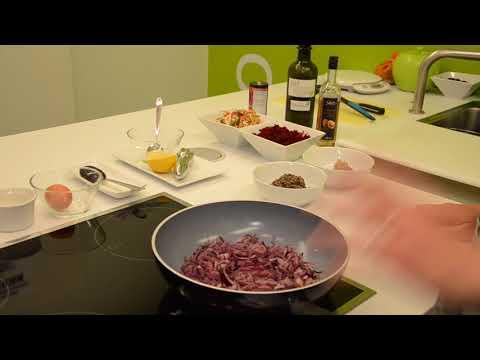 Recette : Burger de lentilles et sarrasin au chèvre frais et oignons confits au sirop de Liège