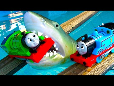 Thomas The Tank Pool Tracks Big Layout Train Crashes BoCo Bee & Shark Attack