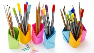 Origami Pencil Holder. How to make pen holder without glue