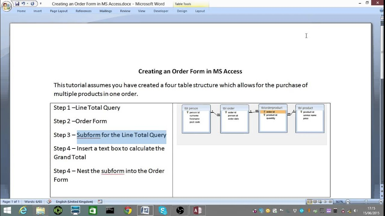 How to make an Order Form using MS Access 2013 - YouTube