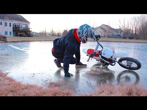 PIT BIKE ICE RIDING FAIL!!!