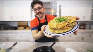 i tried making cheesy latkes (potato pancakes)