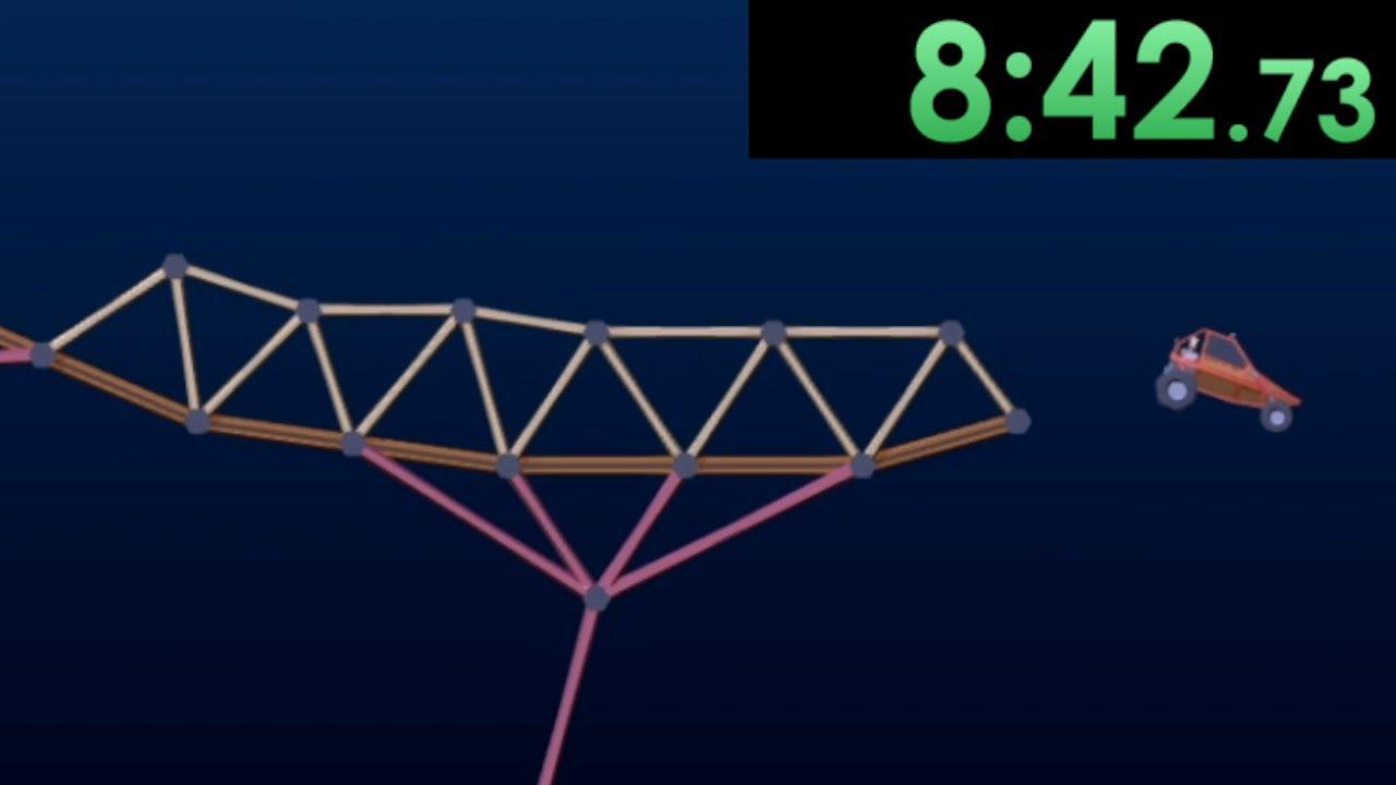I speedrun using modern ingenuity to solve complex problems in Poly Bridge 2