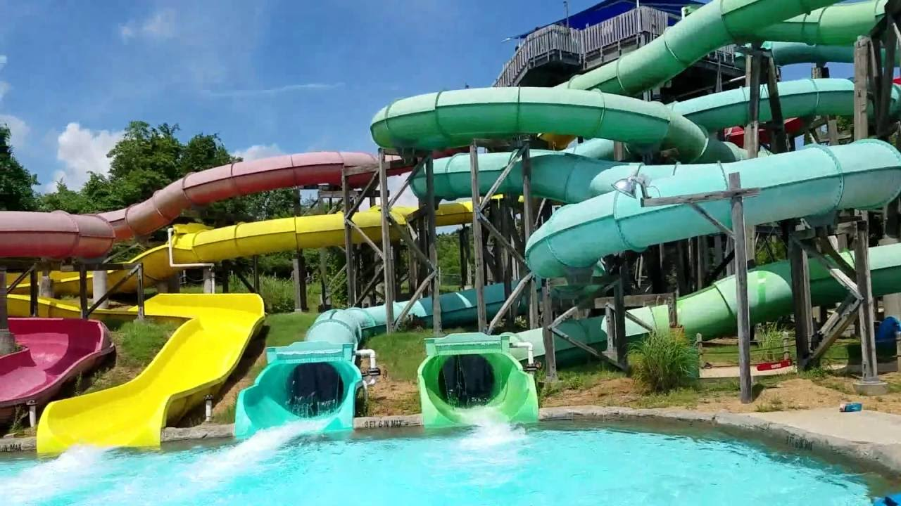 all the slides at hurricane harbor six flags st louis youtube