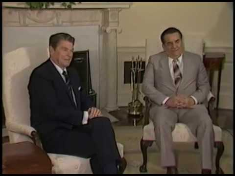 President Reagan's during a Visit of President Roberto Suazo Cordova of Honduras on May 21, 1985