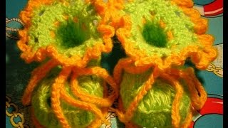 Пинетки Лягушата - 1 часть - Crochet baby's bootees - вязание крючком