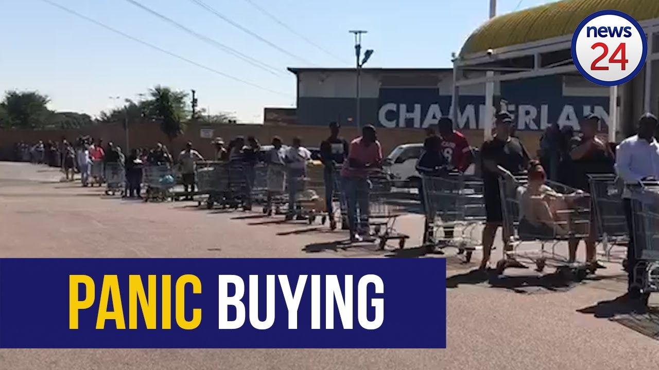 WATCH | Long queues and packed trolleys as nation starts panic buying - despite warnings not to - News24