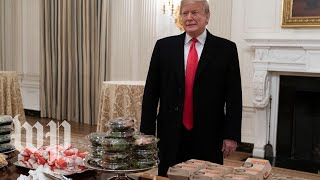 'All American stuff': Watch Trump welcome the Clemson Tigers with a fast-food buffet