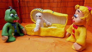 Green Baby in EGYPT'S MUMMY SCARING DAY - Stop Motion Cartoons For Kids