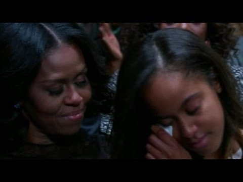 Malia Obama tears up during dad's speech