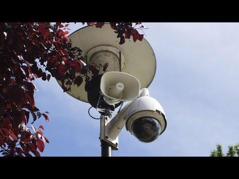 Głośnik straży miejskiej w Parku Słowackiego - test dźwięku