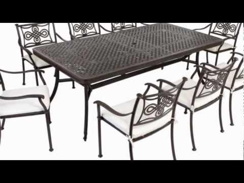 Extending 14 Seater Cast Aluminium Patio Rectangular Furniture Set with seat pads