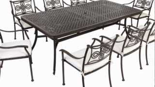 Extending 14 Seater Cast Aluminium Patio Rectangular Furniture Set With Seat Pads