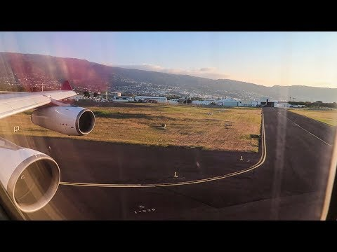 Beautiful Air Mauritius A340 takeoff from Reunion!