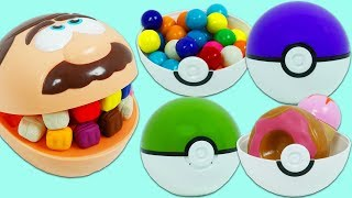 Feeding Mr. Play Doh Head with Surprise Poke Balls and Visiting Dr. Drill N Fill Dentist!