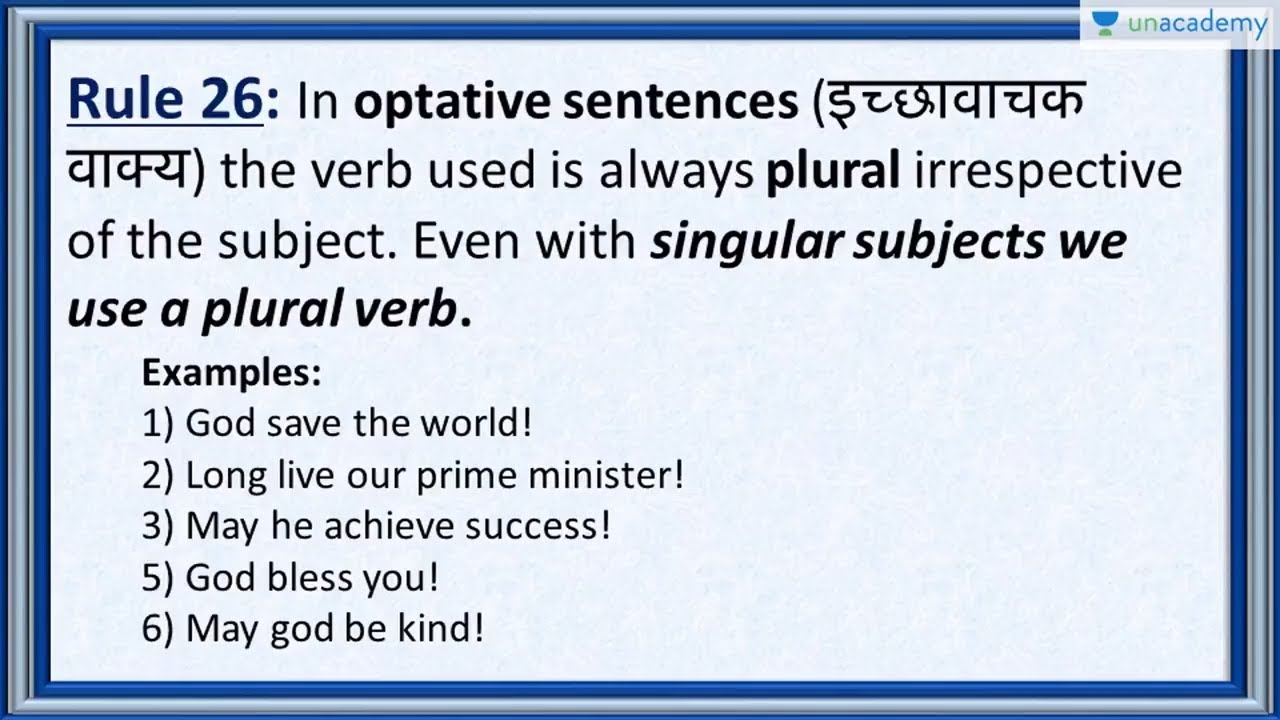 Subject Verb Agreement Rule 26 Optative Sentences In Hindi Youtube