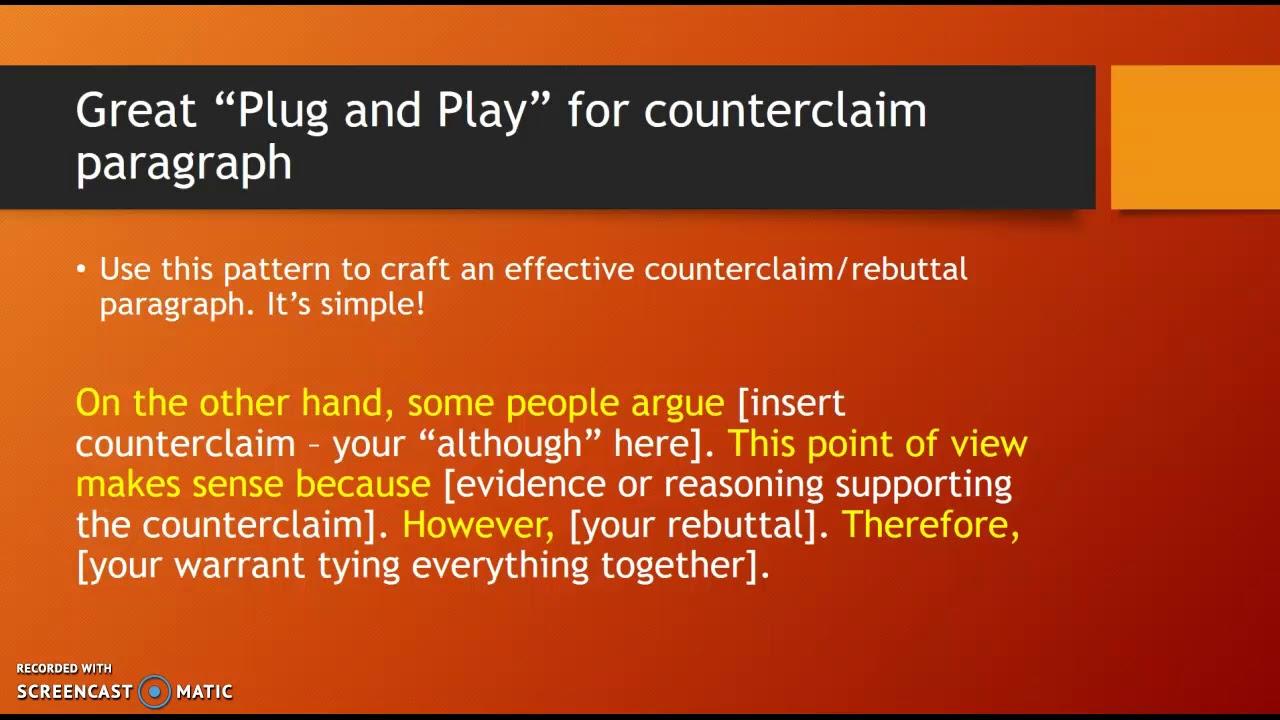 Counterclaim and Rebuttal Paragaph