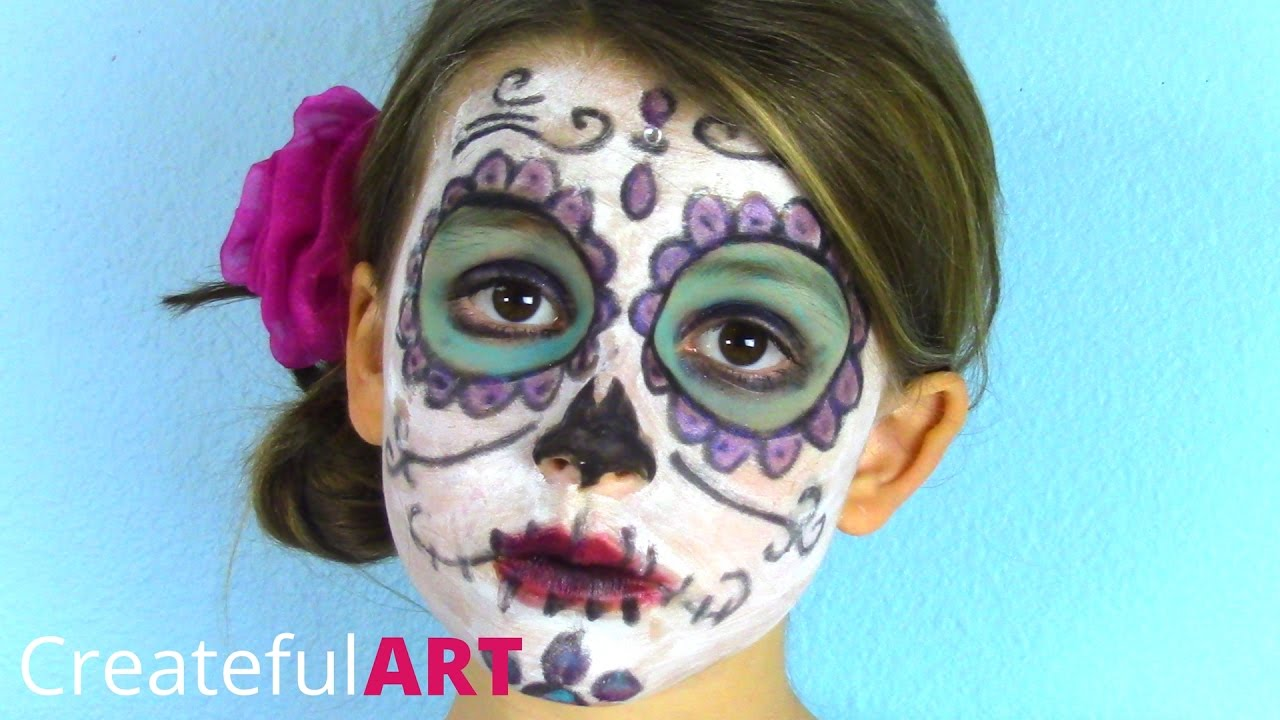 d6139e7dade Pretty Sugar Skull Face Paint for Kids -- Day of the Dead Style