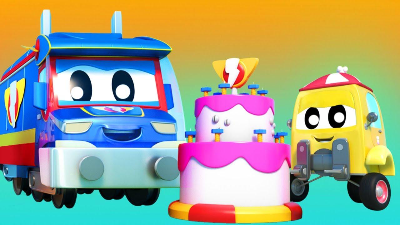 رسوم متحركة للشاحنات للصغار - الشاحنة الخارقة القطار الخارق يساعد شاحنة الرافعة الشوكية بالكعك