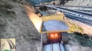 GTA V, Tonka dump truck Vs Frieght Train Who Wins?