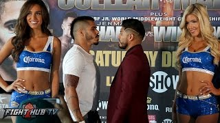 Jesus Cuellar vs. Abner Mares Full Face Off Video- Los Angeles, CA
