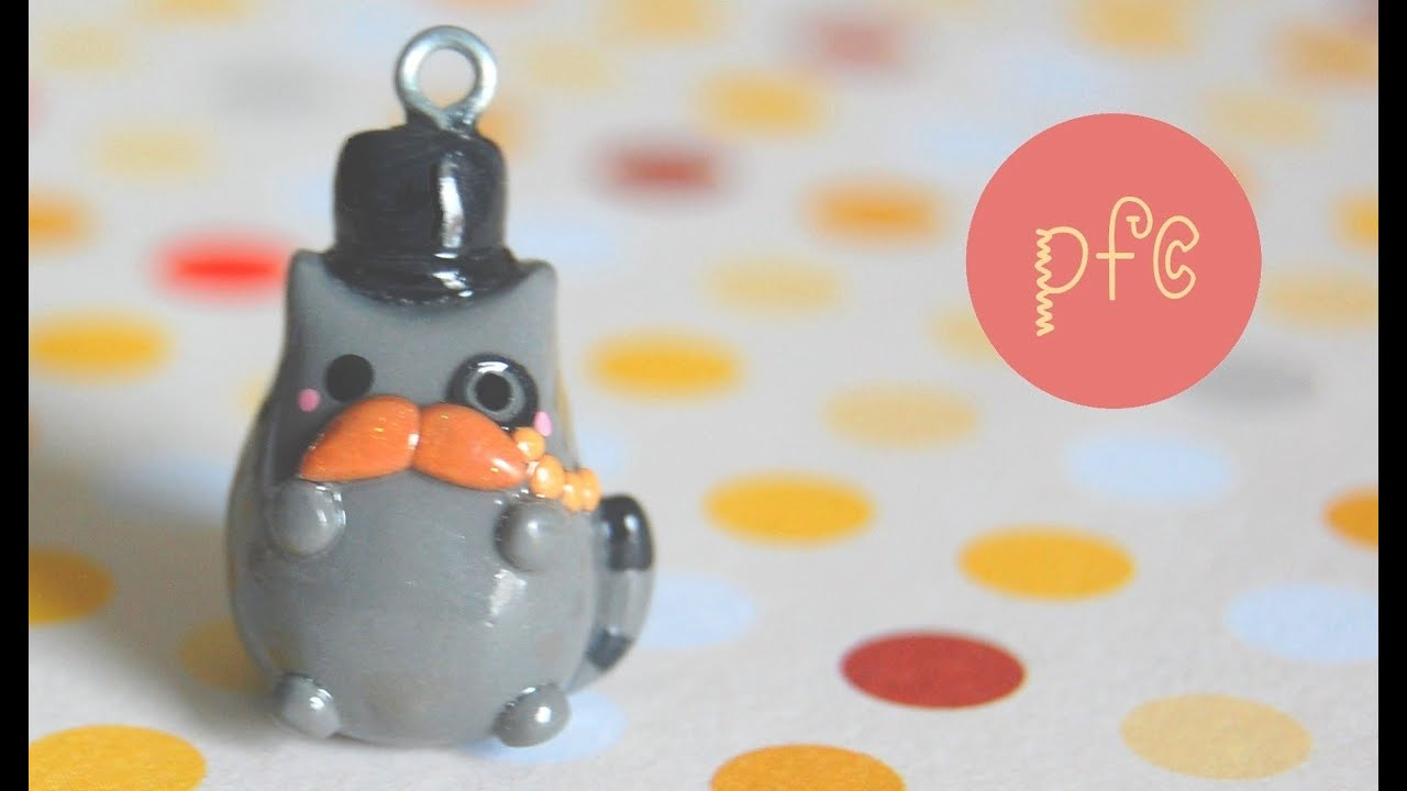 DIY Mustache Gentleman Pusheen Cat Polymer Clay Charm Tutorial