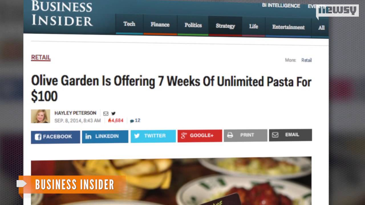 """Olive Garden revives the """"Pasta Pass"""" after 1-second sellout"""