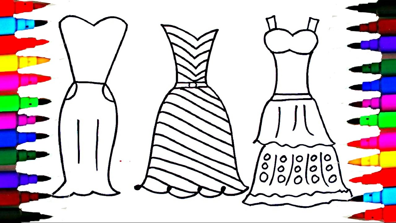 Coloring Pages Dresses For Girls L Polkadots Drawing To Color Kids Learn Rainbow Colors