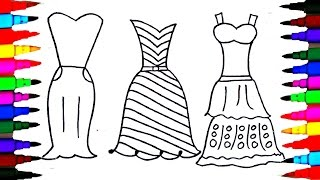 Coloring Pages Dresses For Girls l Polkadots Drawing Pages To Color For Kids l Learn Rainbow Colors