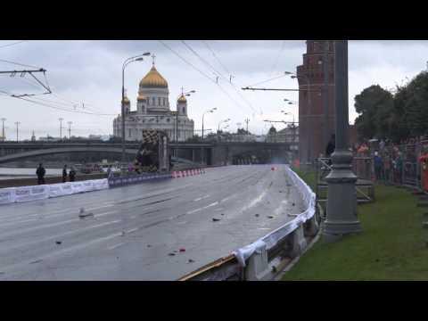 Kamui Kobayashi Crashed Ferrari F1 Showcar in Moscow 2013