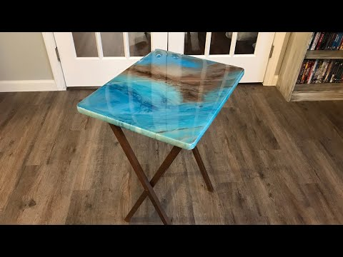 TV Tray Makeover DIY Epoxy Resin Pour - Step by Step Tutorial